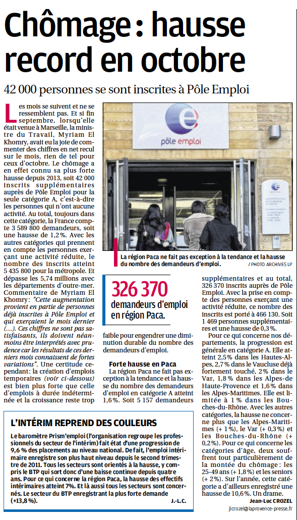 Article chomage octobre 2015