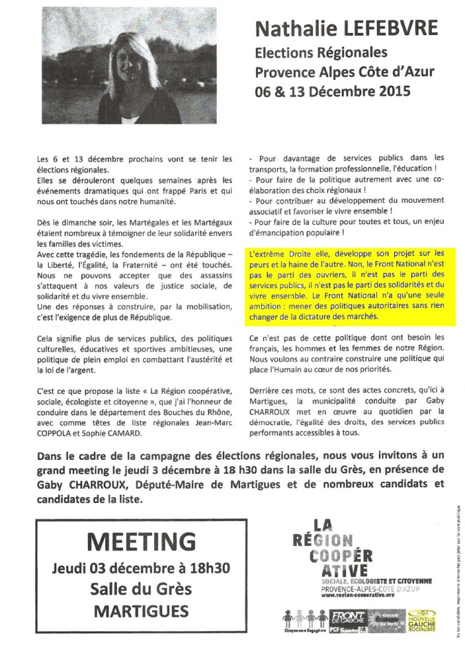 Tract meeting communistes