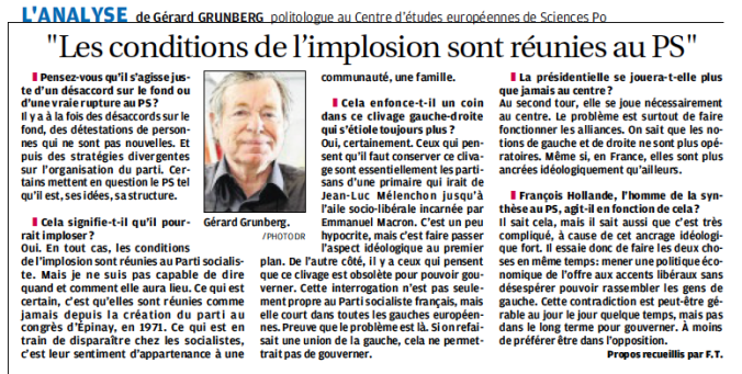 Article implosion de la gauche